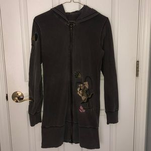 BCBG embroidered long zip up hoodie